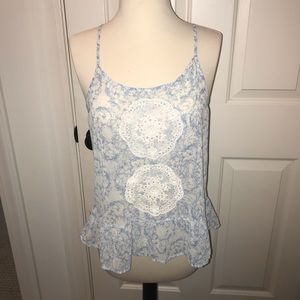 Frenchi blue and white tank top